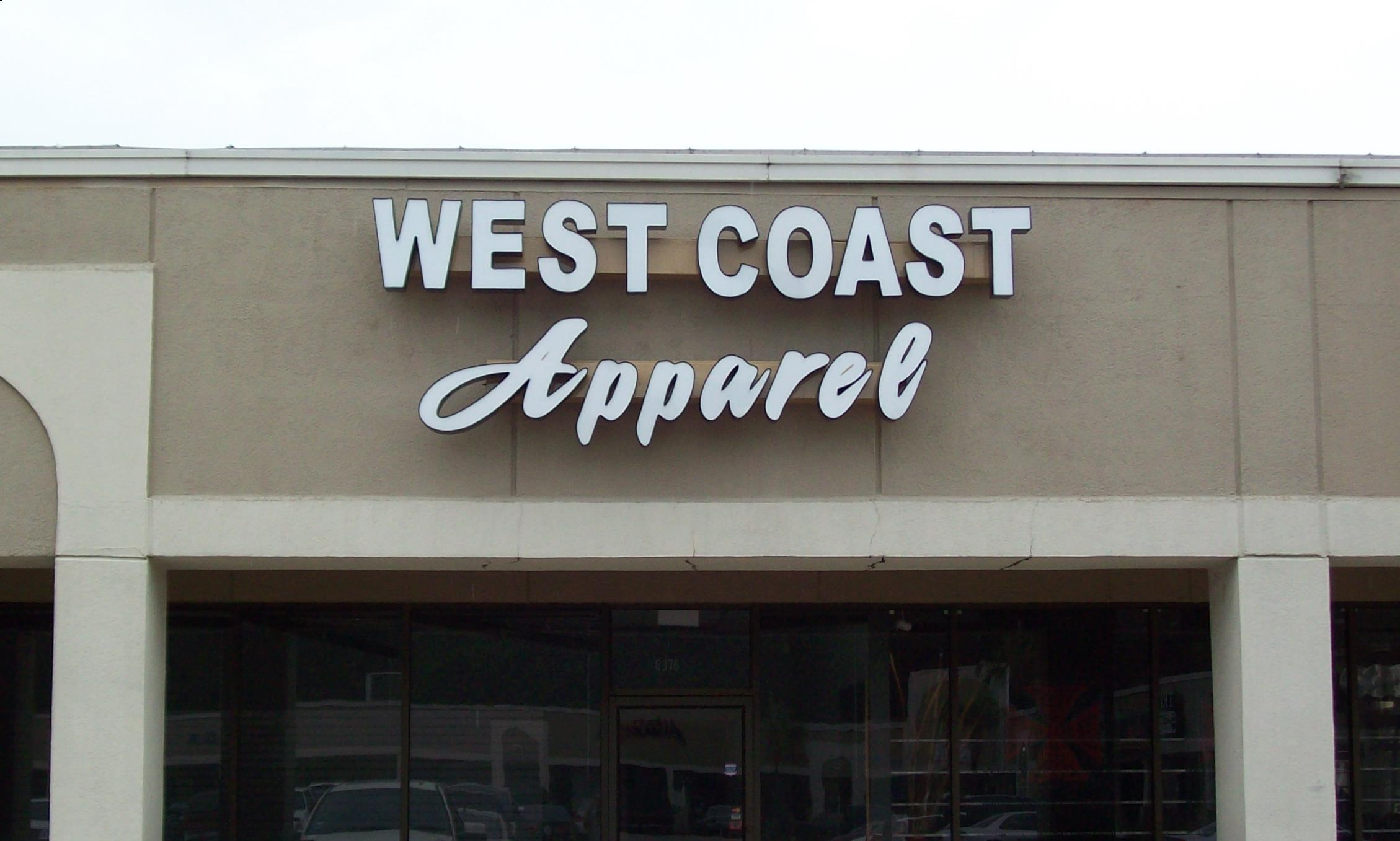 West Coast Apparel - Channel Letters